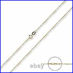 375 9ct Yellow Solid Gold 16 18 20 Paper Box Link Chain Pendant Necklace