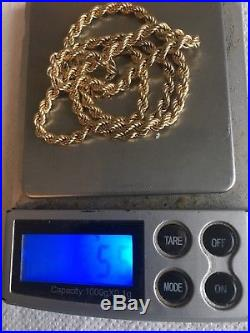 375 9ct gold rope chain necklace 18 inch