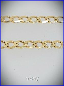 375 9ct solid Yellow Gold Curb Link Necklace 16 30 Fully Hallmarked -3.7mm