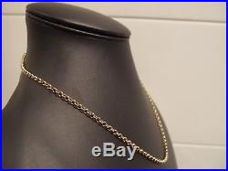 375 FULL LONDON HM 3mm ROUND LINKS 9ct GOLD BELCHER CHAIN NECKLACE 21in 10.3gms