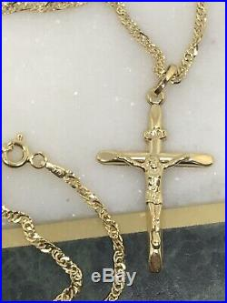 375 Hallmarked 9ct Yellow Gold Christian CRUCIFIX CROSS Necklace&Pendant 18 inch