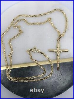 375 Hallmarked 9ct Yellow Gold Christian Crucifix Necklace&Pendant Chain18 inch