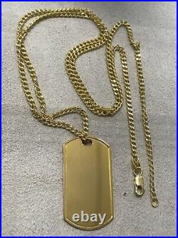 375 Hallmarked 9ct Yellow Gold Dogtag Pendant+ Neclace Curb Chain Pendant 24