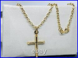 375 Hallmarked 9ct Yellow Gold Holy Cross Necklace&Pendant 2mm Belcher Chain 18