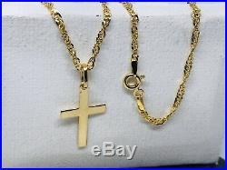 375 Hallmarked 9ct Yellow Gold Plain Cross Necklace&Pendant Singapore Chain 16
