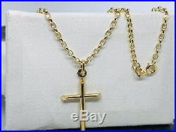 375 Hallmarked 9ct Yellow Gold Tube Cross Necklace&Pendant Belcher Chain 18