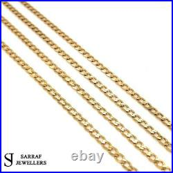 3MM CURB Chain 9ct 375 Yellow GOLD SOLID Bracelet Necklace ALL SIZE BRAND NEW
