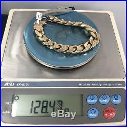 4oz+ 9ct Gold Curb Bracelet 128.47g 9 inches
