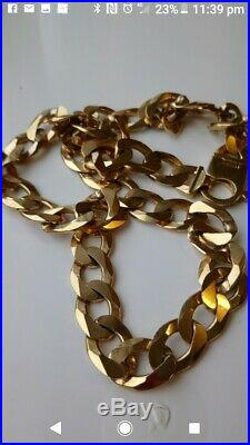 9 Carat 9ct Gold Heavy Open Link Curb Chain Yellow Gold Solid 24 Long
