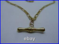 9 Ct Yellow Gold Figaro Chain with T Bar