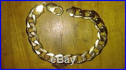 9 ct GOLD HALLMARKED HEAVY SOLID CURB BRACELET 32.6g approx' 8 long approx
