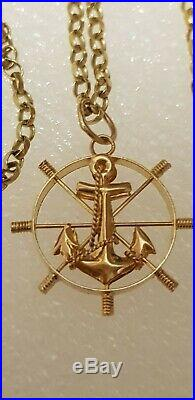 9 ct gold 20belcher chain with 14ct gold nautical ships wheel anchor pendant