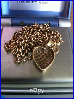 9ct Gold Belcher Chain & Pendant 13.29 Grams Scrap Or Wear