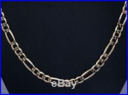 9ct Gold Chain, Hallmarked Long & Heavy Gold Figaro Chain, Length 30 Inches