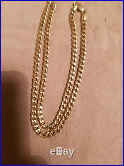 9CT GOLD FLAT CURB LINK CHAIN NECKLACE 18.5 inches 8g