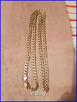 9CT GOLD FLAT CURB LINK CHAIN NECKLACE 20 inches 16g