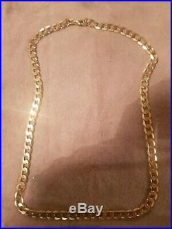 9CT GOLD FLAT CURB LINK CHAIN NECKLACE 21 inches 23.6g