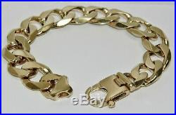 9CT GOLD ON SILVER 9 INCH HUGE MEN'S HEAVY CURB BRACELET 92.5g CHUNKY 12MM