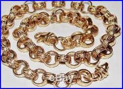 9CT GOLD ON SILVER CHUNKY 24 INCH MEN'S SOLID BELCHER CHAIN HEAVY 100.9 grams
