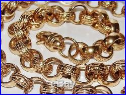 9CT GOLD ON SILVER CHUNKY 26 INCH MEN'S SOLID BELCHER CHAIN HEAVY 103.9 grams