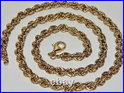 9CT GOLD & SILVER CHUNKY SOLID ROPE CHAIN 26 inch Men's or Ladies 38.8 grams