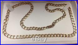9CT GOLD SOLID GOLD CURB CHAIN 24 lenght