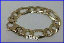 9CT Gold Bracelets Mens Solid Yellow Very Heavy 57.7 Grams Curb Chain Chunky