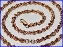 9CT ROSE GOLD ON SILVER 5mm SOLID ROPE CHAIN 30 inch Men's or Ladies