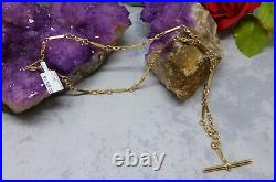 9CT SOLID YELLOW GOLD BAR AND KNOT LINK NECKLACE/CHAIN 17.8gr
