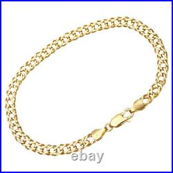 9CT YELLOW GOLD 7.5 inch DOUBLE CURB LADIES BRACELET 5MM UK HALLMARKED