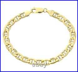 9CT YELLOW GOLD 8.5 inch ANCHOR CURB MEN'S BRACELET UK HALLMARKED