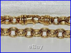 9CT YELLOW GOLD ON SILVER 24 INCH MEN'S SOLID BELCHER CHAIN 74.0 grams