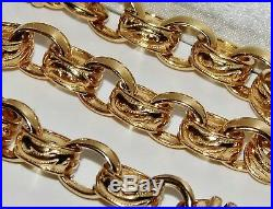 9CT YELLOW GOLD ON SILVER 26 INCH MEN'S SOLID BELCHER CHAIN 80.7 grams