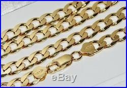 9CT YELLOW GOLD ON SILVER 30 INCH MEN'S SOLID CURB CHAIN 52.0 grams