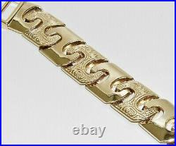 9CT YELLOW GOLD ON SILVER MENS BRACELET 8.5 INCH LARGE 15mm LINKS 42.0 GRAMS