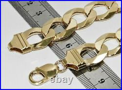 9CT YELLOW GOLD ON SILVER MENS BRACELET CURB HEAVY CHUNKY 9 INCH 16mm
