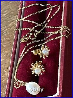 9CT Yellow Gold Diamond and Pearl Pendant, Chain Necklace / Earrings Set, NEW