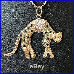 9Carat (9ct) Gold Gemstone Set Leopard Pendant & 20 Chain Yellow Gold 9.20g