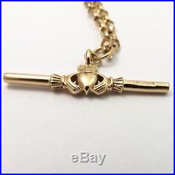 9K 9ct Gold Ireland Claddagh Watch Fob Bar 2 Sided Charm Pendant Chain Necklace