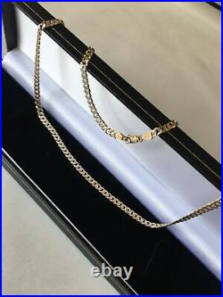 9ct 375 9k Stunning Solid Yellow White Gold Curb Necklace 20Chain Boxed 10.9g