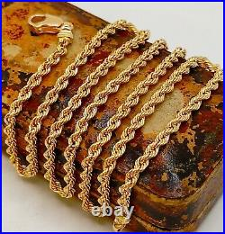 9ct 375 Hallmarked Solid Yellow Gold 3mm Rope Chain Necklace Brand New 18 Inches