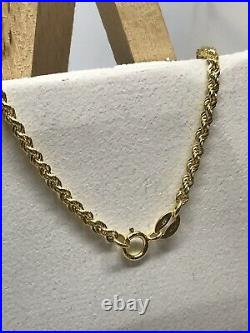 9ct 375 Hallmarked Solid Yellow Gold 3mm Rope Chain Necklace Brand New ALL SIZE