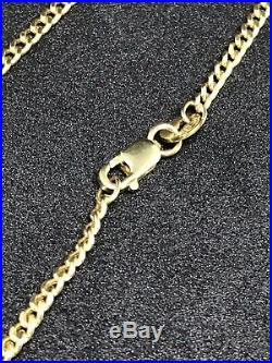 9ct 375 Yellow GOLD 2MM Solid CURB CHAIN ALL SIZES BRAND NEW GIFT