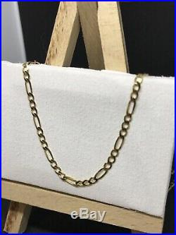 9ct 375 Yellow GOLD 2mm CURB FIGARO CHAIN ALL SIZE GIFT BRAND NEW