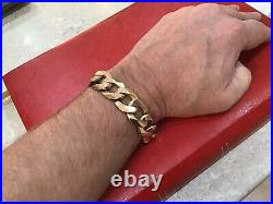 9ct 375 Yellow Gold Gents Chunky Curb Bracelet. Heavy 120g. Fully Hallmarked