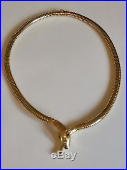 9ct 375 yellow GOLD SNAKE NECKLET supple necklace chain 16 5mm GARNET eyes