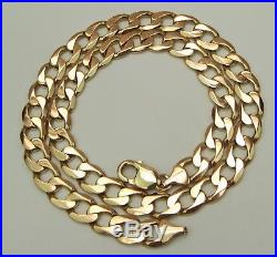 9ct 9Carat Yellow Gold Heavy Curb Linked Chain Necklace 21 Inch UK HALLMARKED