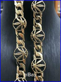 9ct Cuban Link Cannabi GOLD Mens Miami Weed Leaf CZ Necklace Box Clasp 22 9mm