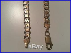 9ct GOLD 20 FLAT CURB with bevelled edge NECKLACE CHAIN, heavy 22.4 grams