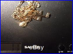 9ct GOLD 20 INCH CURB CHAIN (4MM) WITH 9ct GOLD SOLID CROSS PENDANT RRP £800 +
